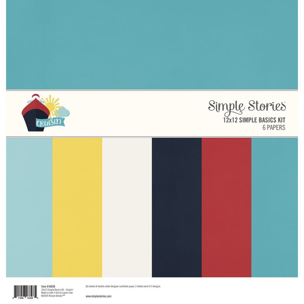 "Simple Stories Cruisin Basics Double-Sided Paper Pack 12""X12"" 6/Pkg - Scrap Of Your Life"
