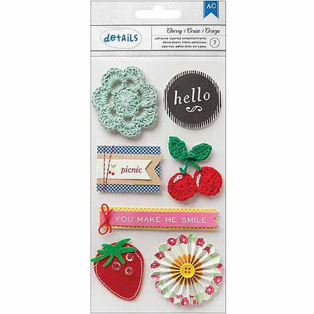 American Crafts Mayberry Dimensional Mix Embellishments Cherry