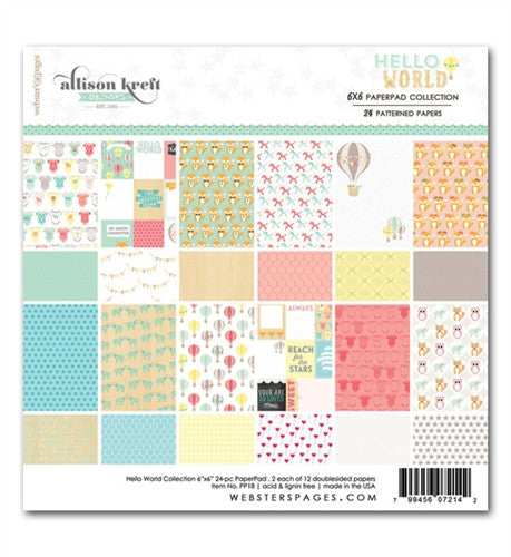 Websters Designs Alison Kreft Hello World 6 x 6 Paper Pad