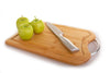 Organic Bamboo Cutting Board With Juice Groove Stainless Steel Handle Reversible Design