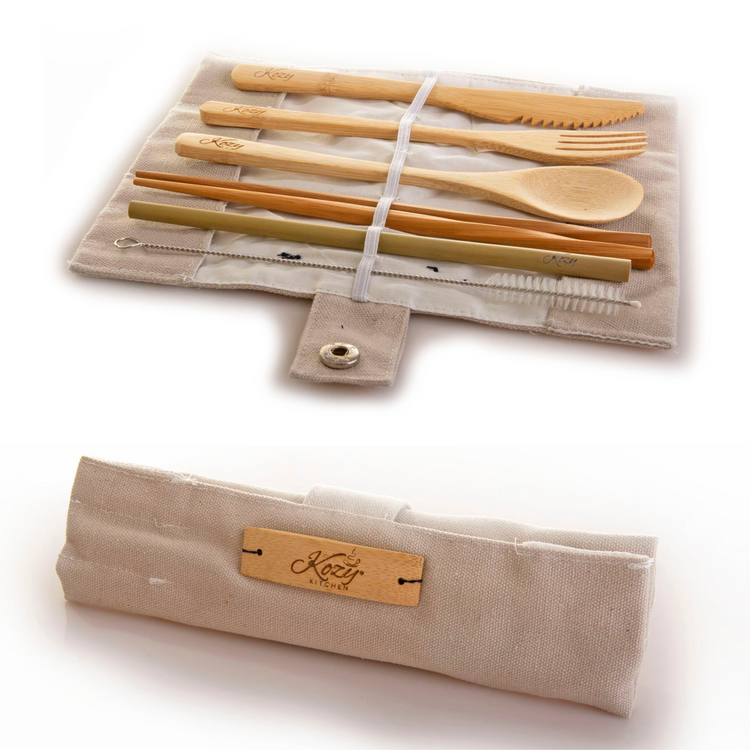 Zero Waste Plastic Free Reusable Bamboo Cutlery Set Fork, Spoon, Knife, Chopsticks, Straw