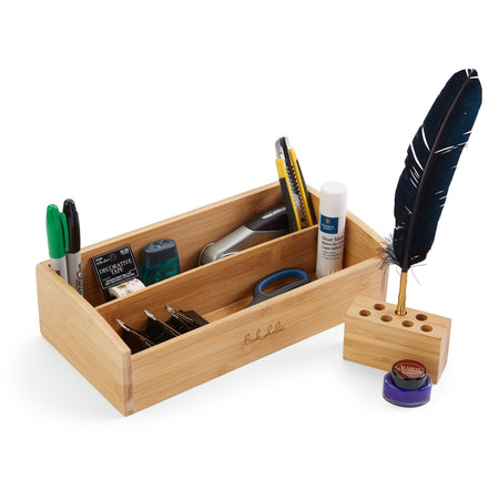 2 Tier Bamboo Desk Organizer, Bonus: Pen Holder