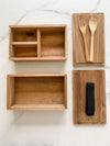 Acacia Wood Bento Box, Handmade Food Container with Fork and Spoon