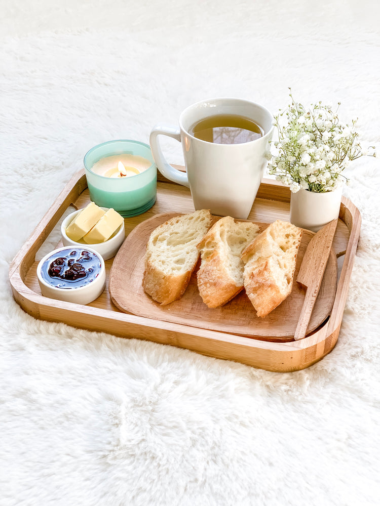 Premium Bamboo Tea Serving Tray Wood Finish