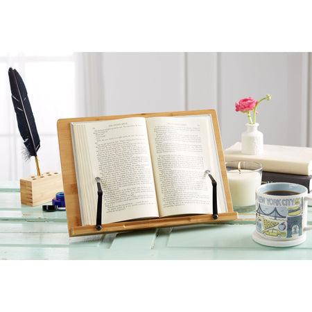 Natural Bamboo Book Stand for Bulky Books