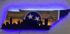 Tennessee outline with city skyline - Yellow & Blue Theme