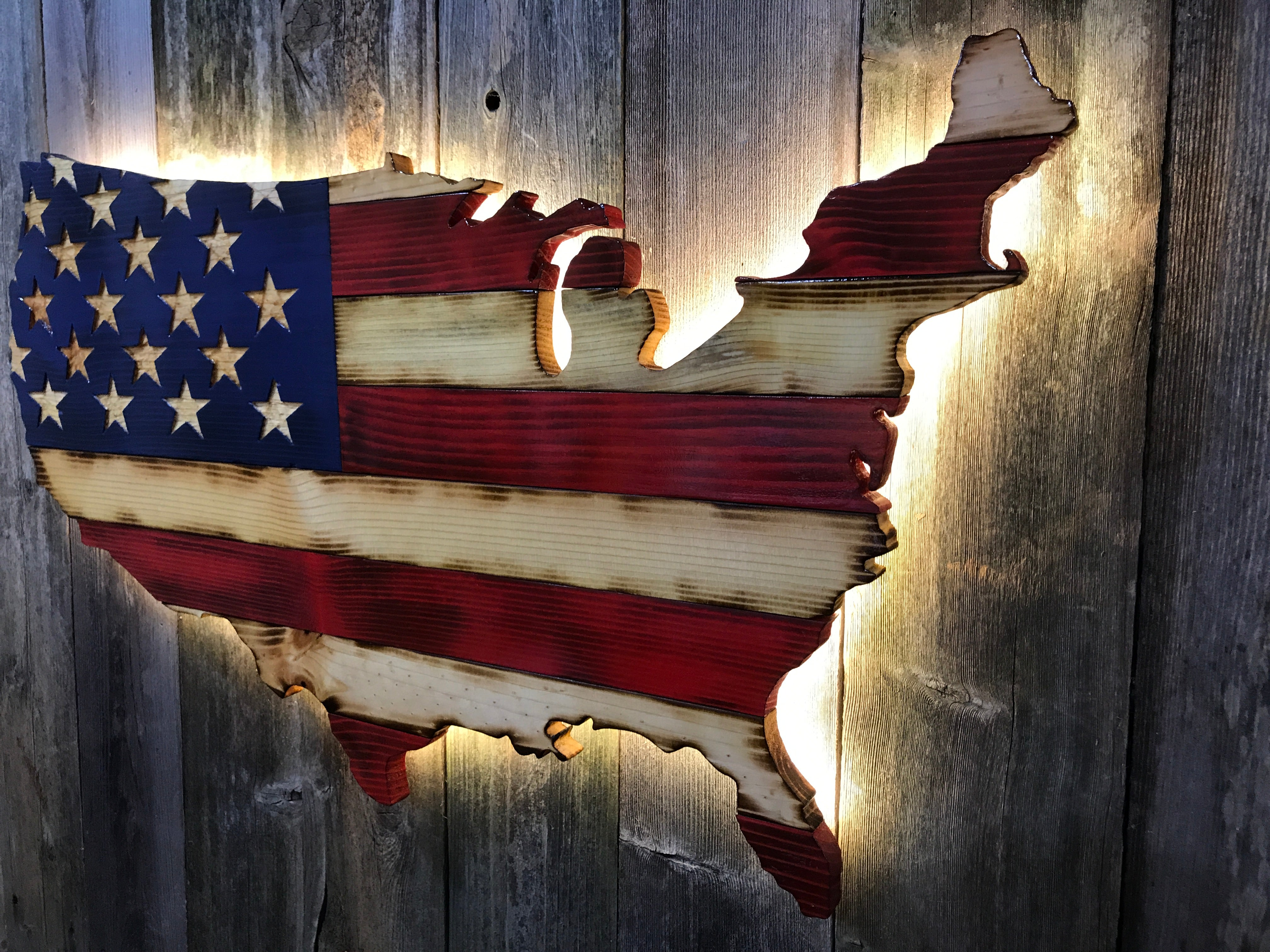 """Rustic"" American United States cutout"