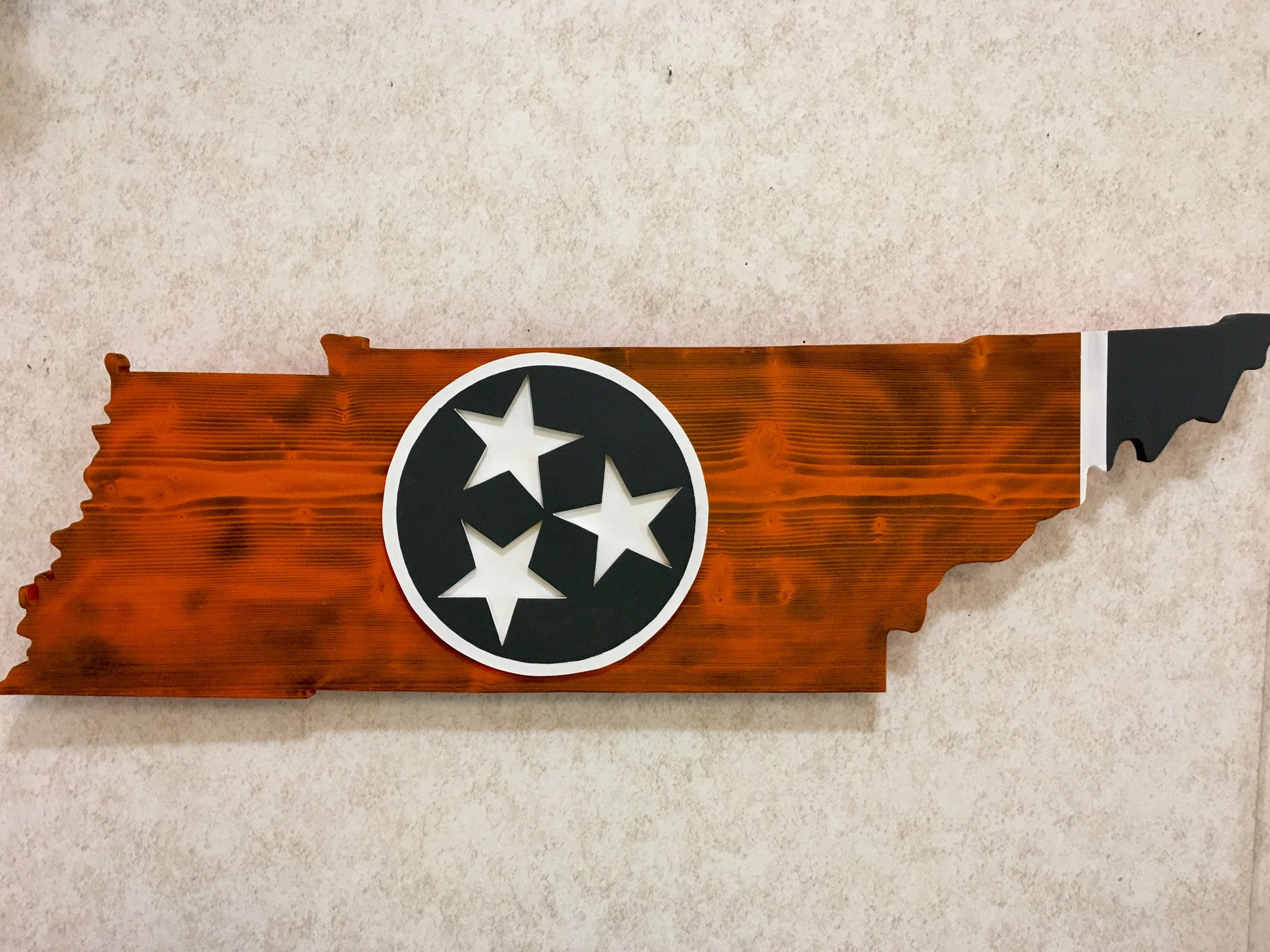 Rustic Orange Gray Tennessee Outline With Tri Star