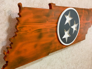 """Rustic"" Orange & Gray Tennessee outline with Tri Star"