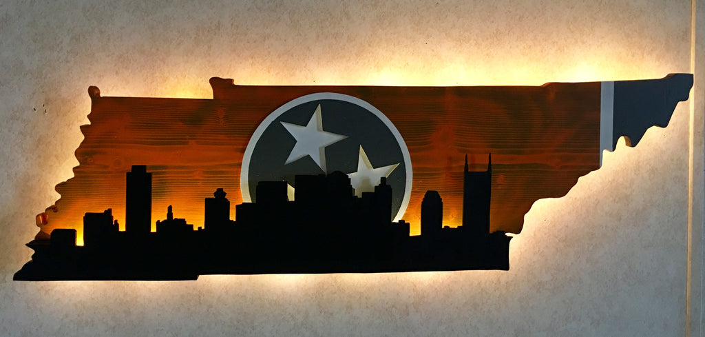 Tennessee outline With City Skyline - Orange & Gray Theme