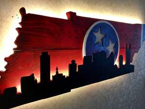Tennessee Outline with city Skyline - Red & Blue Theme