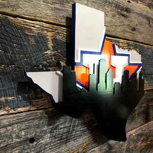 Texas Outline with Houston Skyline & Astros background