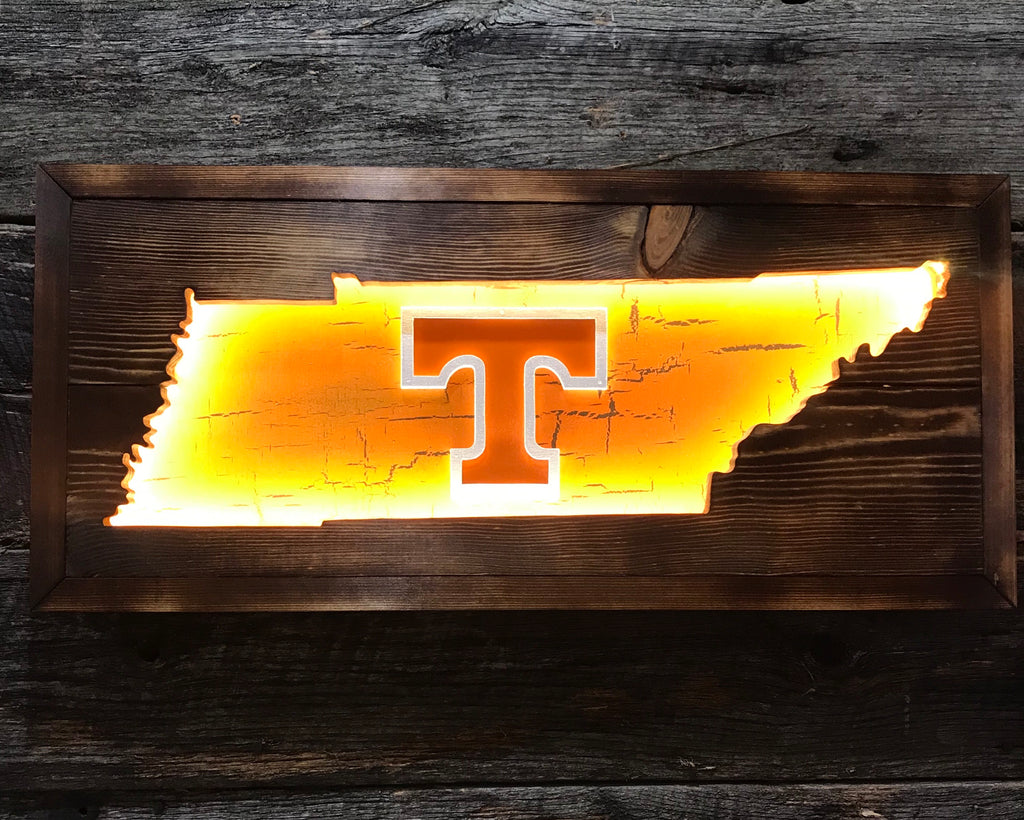 """Distressed"" Tennessee state inlay with recessed lighting"