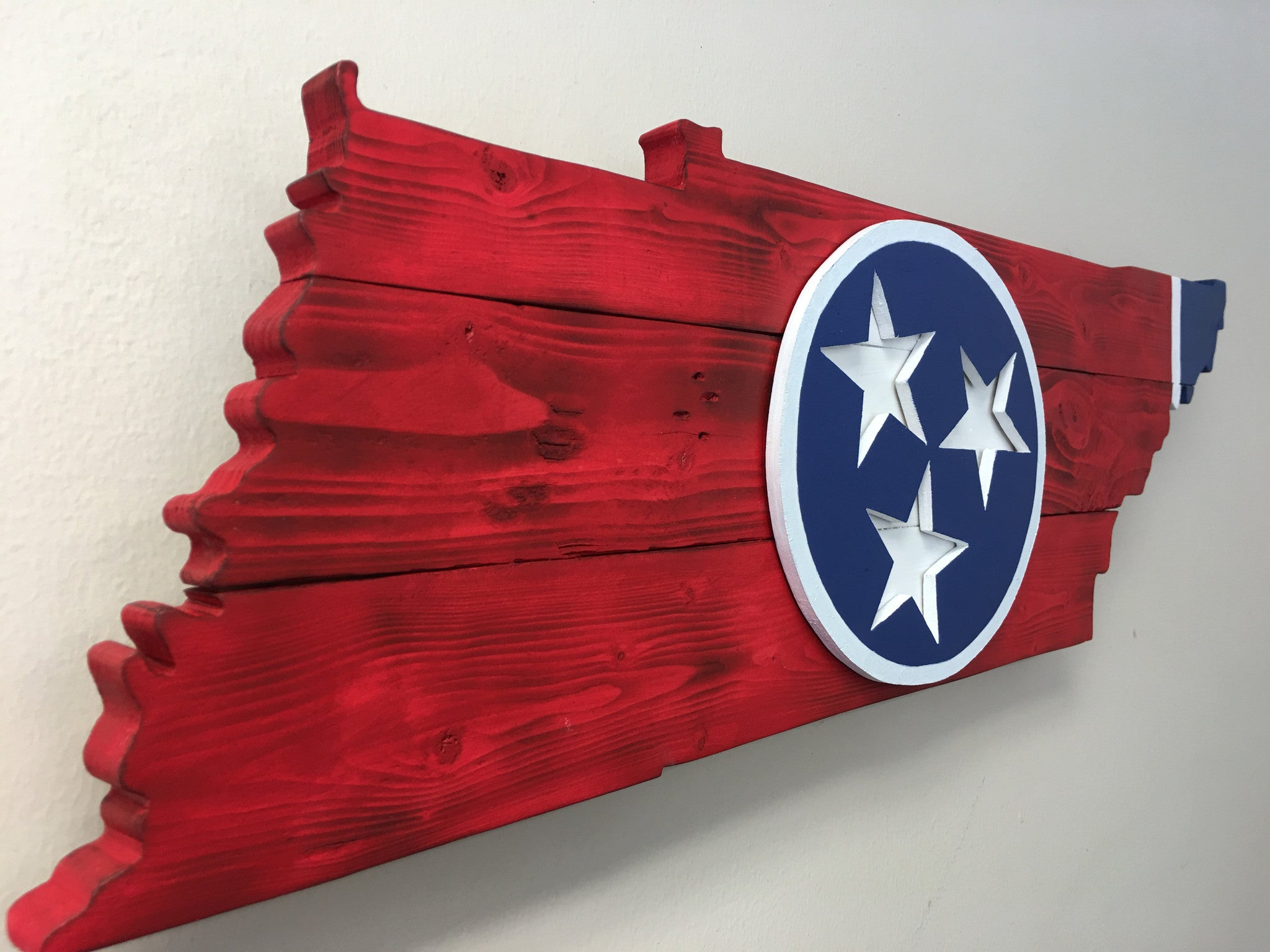 """Rustic"" Red & Blue Tennessee outline with Tri Star"