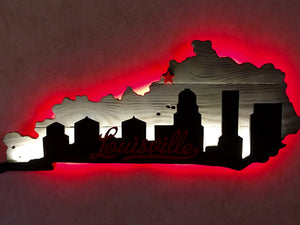 Kentucky outline with Louisville skyline