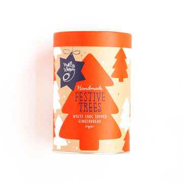 Molly Woppy Festive White Choc Topped Gingerbread Cookie Trees Cylinder