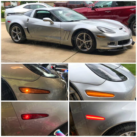 2005-2013 C6 Corvette Stealth Full-Length Laser LED Side Markers (amber/red lenses)