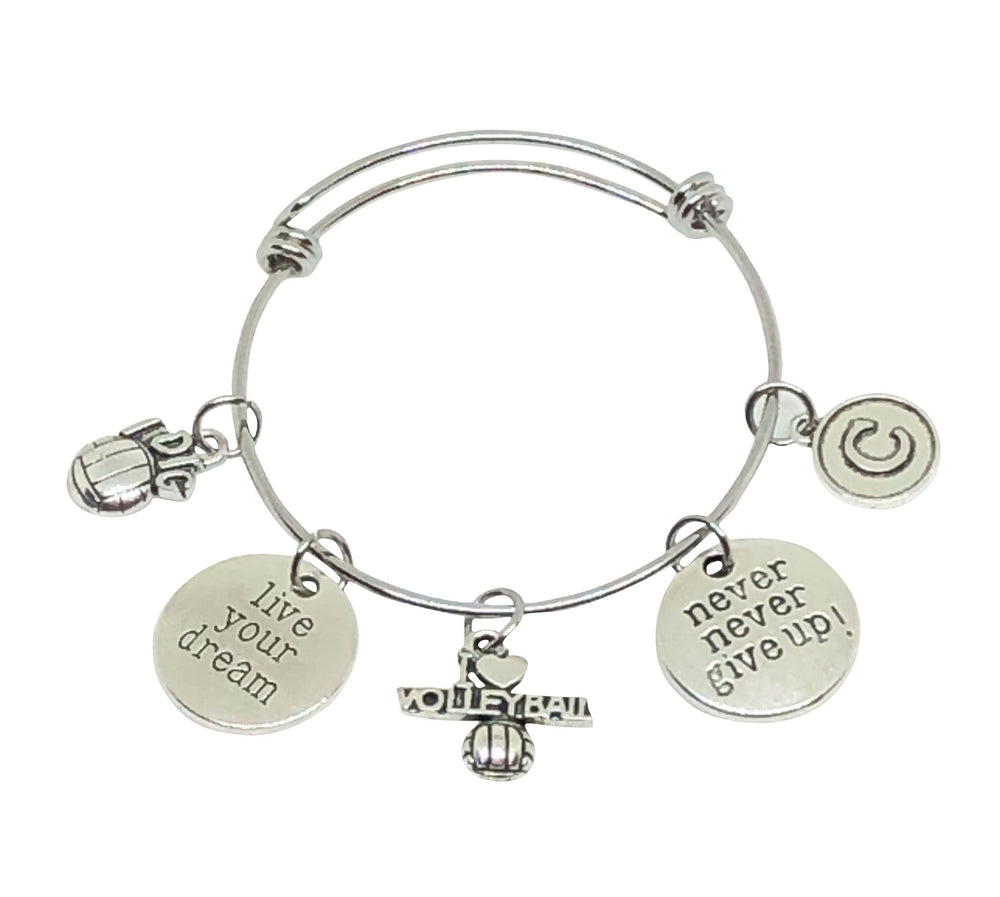 Volleyball Bangle Personalized Charm Bracelet