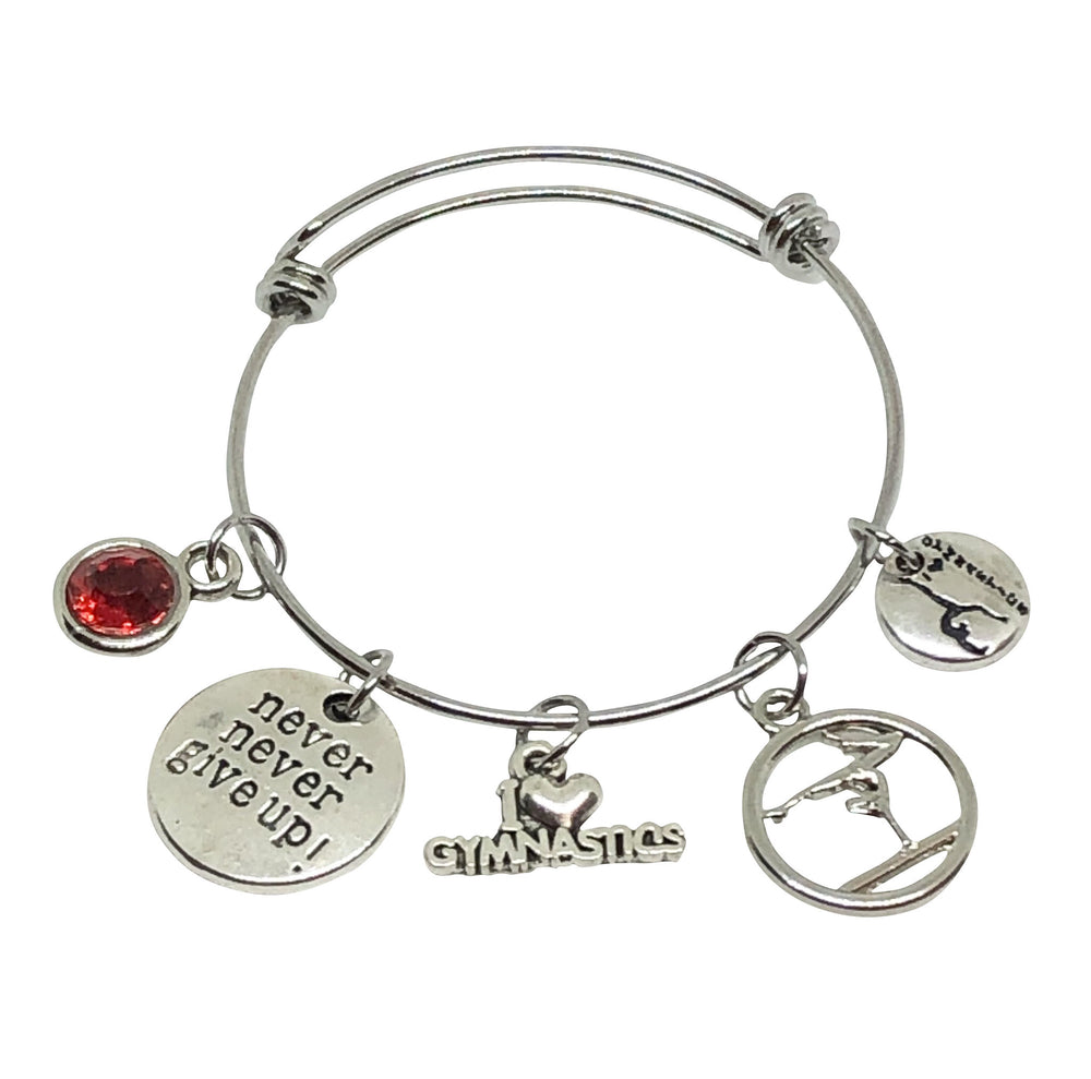 Gymnastics Charm Personalized Bracelet - Never Give Up!