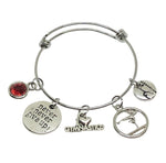 Gymnastics Charm Personalized Bracelet - Never Give Up! - Cheerleading On Demand by America's Leaders