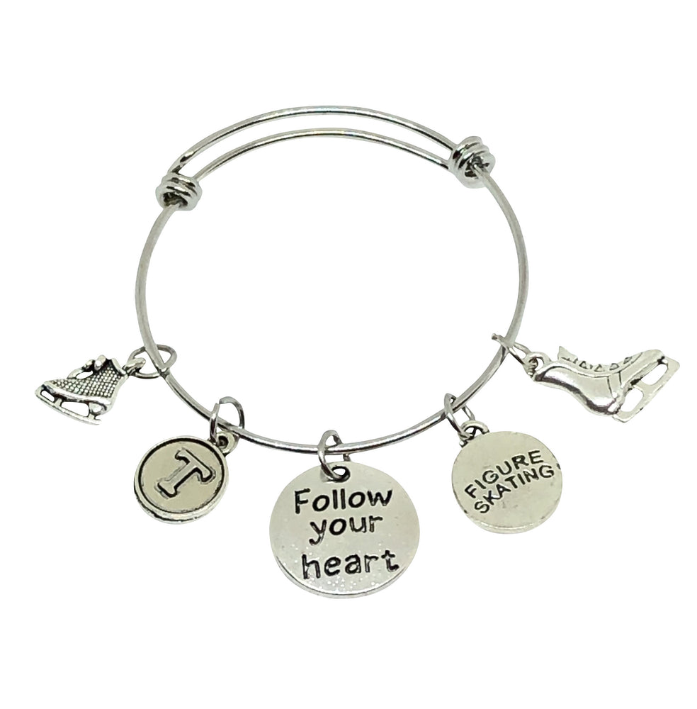 Ice Skating Bangle Personalized Charm Bracelet - Follow Your Heart - Cheer and Dance On Demand