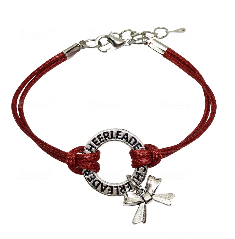 Cheerleading Bracelet with Cheer Bow - 6 COLORS Red - Cheer and Dance On Demand