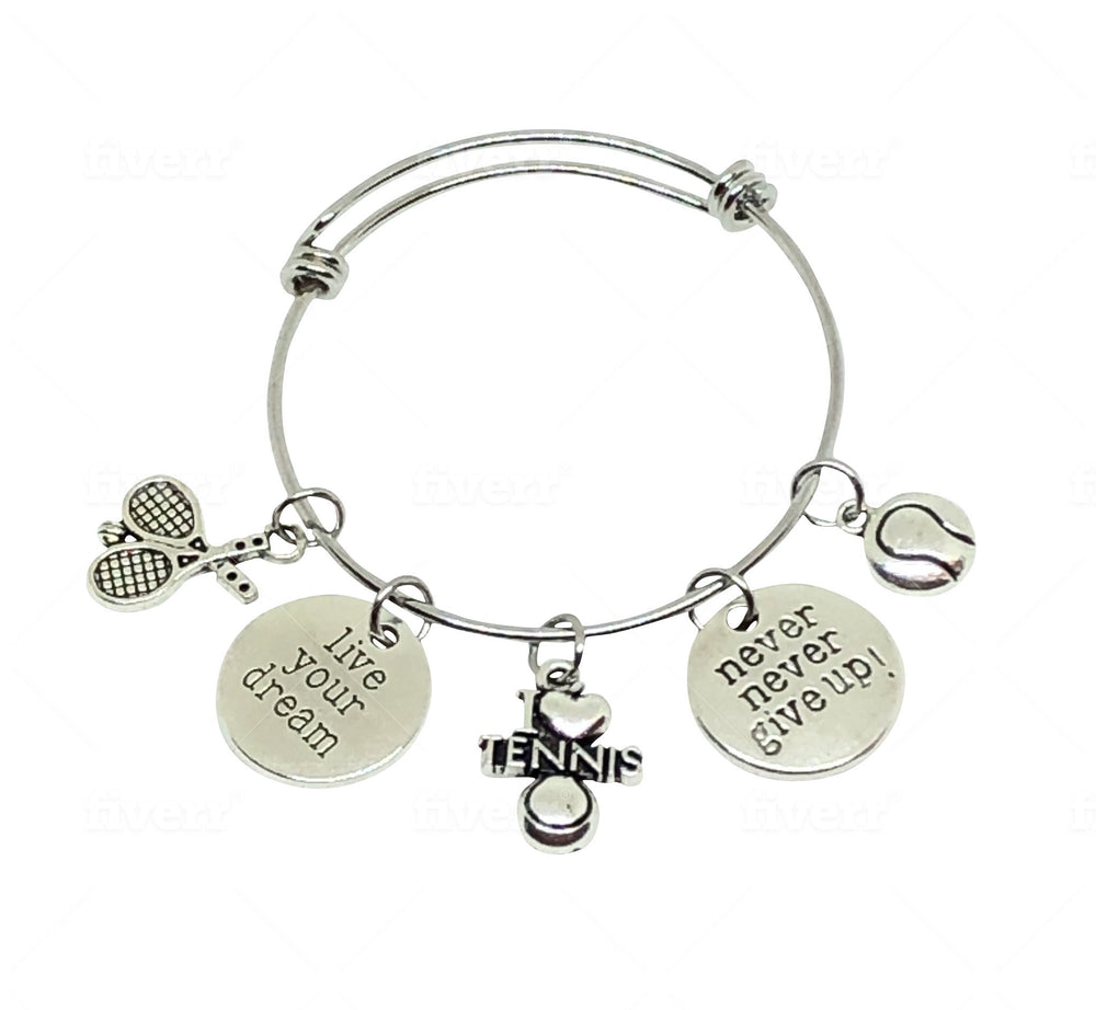 Tennis Charm Bracelet - Never Give Up