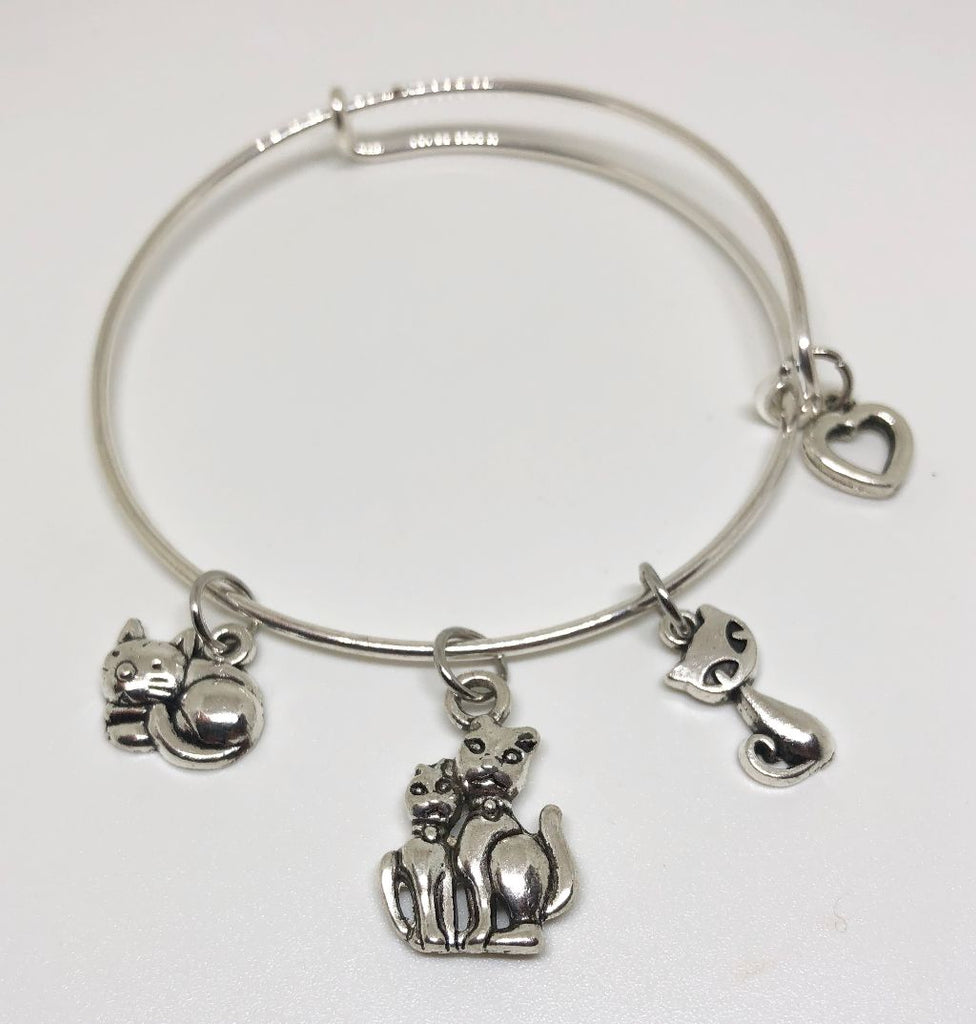 Cat Charm Bracelet - Momma Cat and Kittens