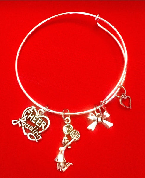 I Love Cheerleading Charm Bracelet with Bow - Silver