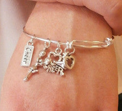 Cheer LOVE Cheerleading Charm Bangle Bracelet - Cheer and Dance On Demand
