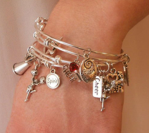 Cheerleading Charm Bangle Bracelet Set of 4 - Cheer and Dance On Demand