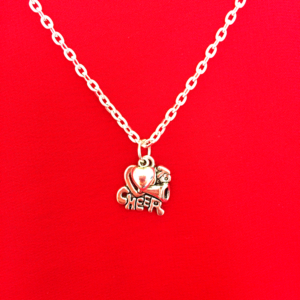 I Love Cheerleading Double Charm Necklace Silver - Cheer and Dance On Demand