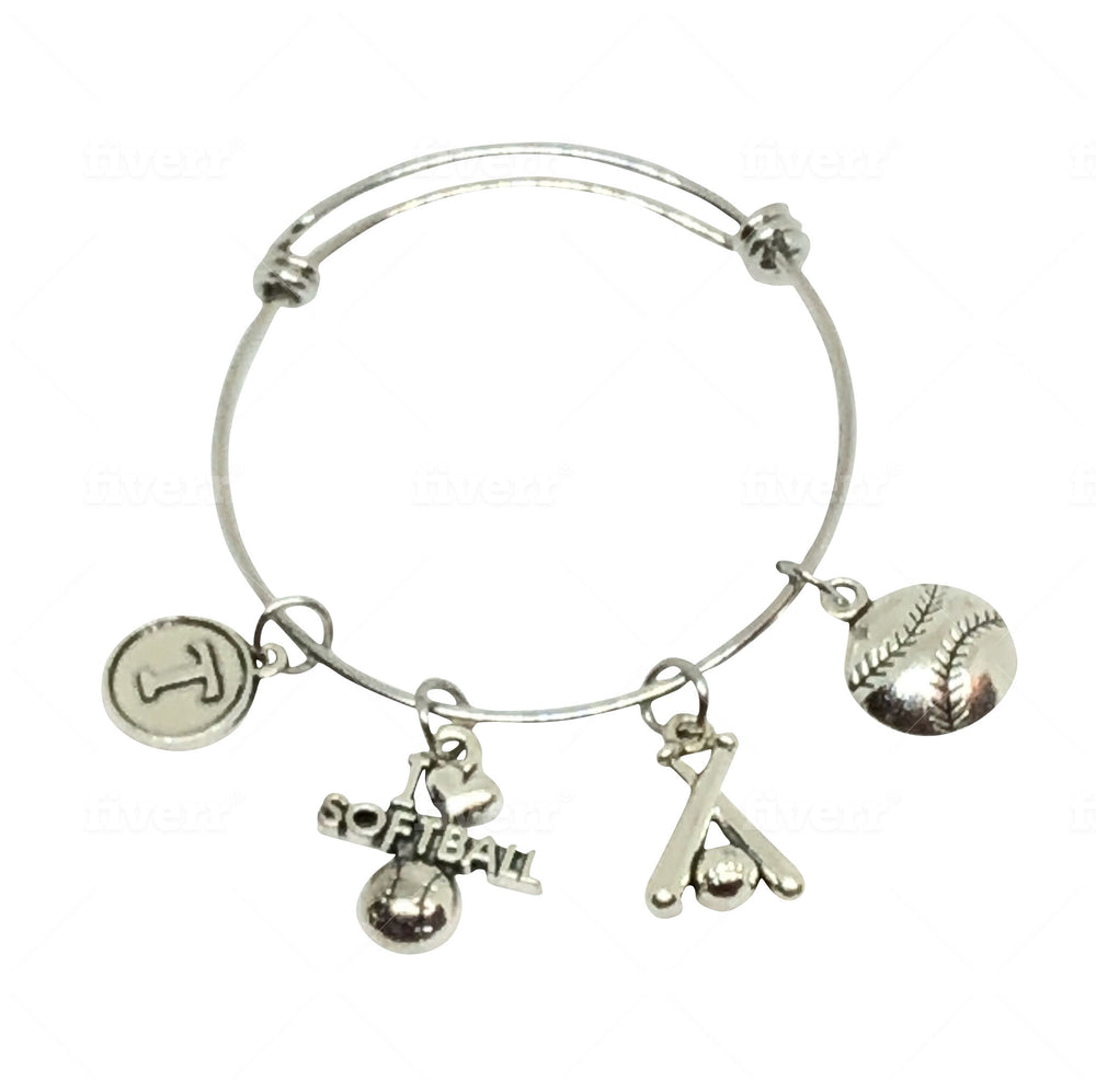 Softball Bangle Personalized Charm Bracelet - Cheer and Dance On Demand