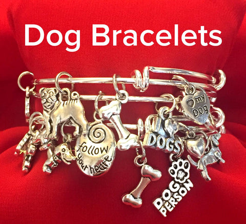 Dog Charm Bracelet - Set of 4 Bangle Bracelets