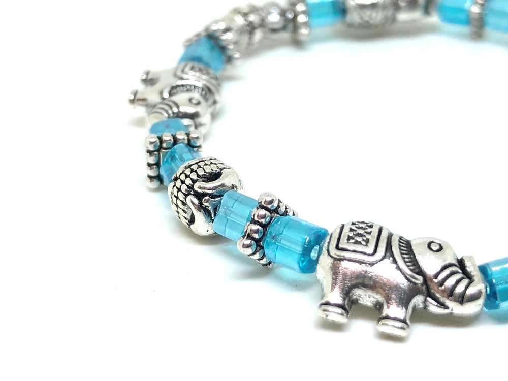 Elephant Stretch Crystal Bead Bracelet 8 COLORS - Glacier Blue, Strength and Wisdom Symbol - Cheerleading On Demand by America's Leaders