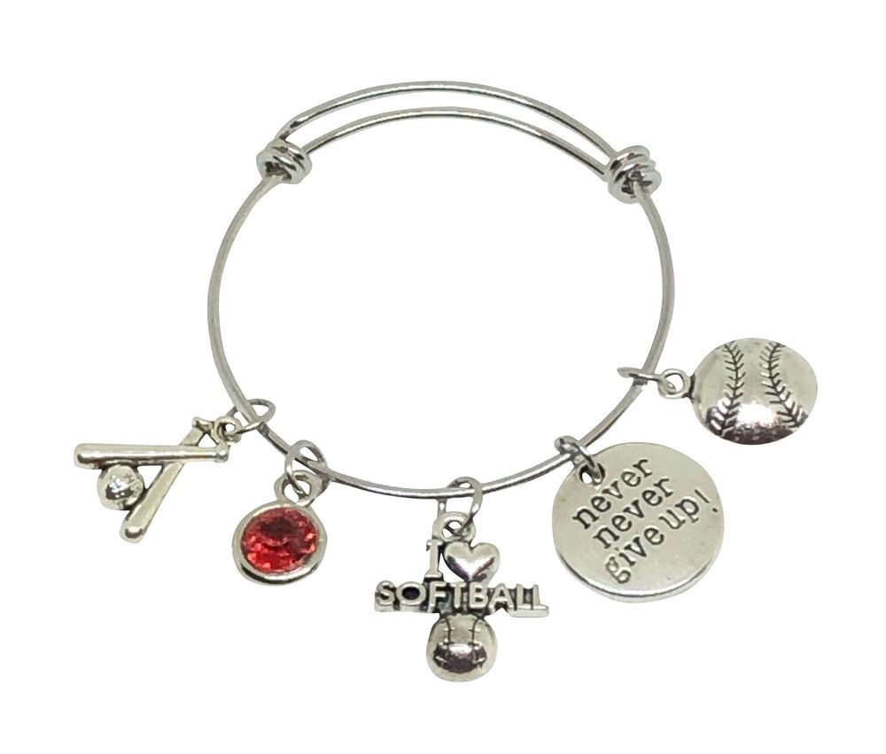 Softball Charm Bracelet Never Give Up! - Cheer and Dance On Demand