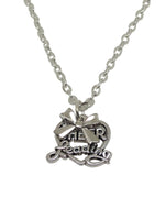 Cheerleading Double Charm Necklace with Bow - Silver