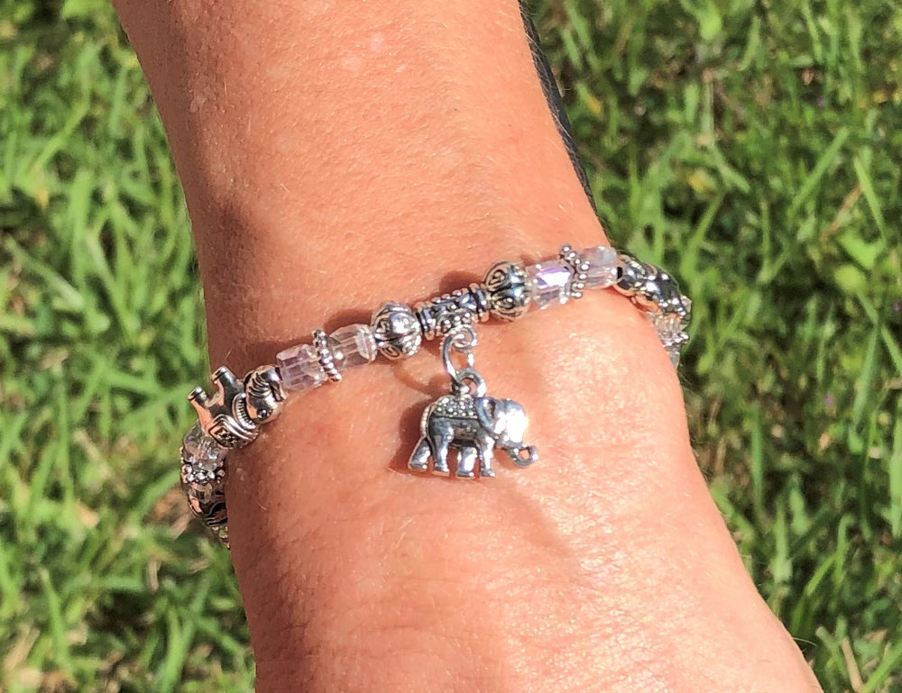 Elephant Stretch Bracelet - Crystal Bead Bracelet 13 COLORS - ROYAL BLUE, Good Luck Strength and Wisdom Symbol - Cheer and Dance On Demand