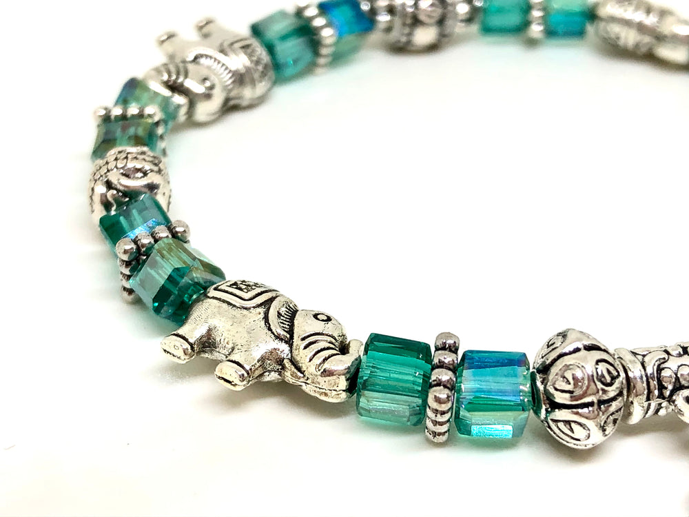 Elephant Stretch Bracelet - Crystal Bead Bracelet 13 COLORS - Teal Green Crystal, Good Luck Strength and Wisdom Symbol - Cheer and Dance On Demand