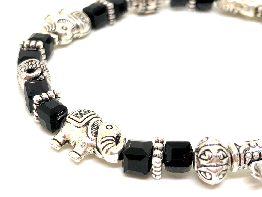 Elephant Stretch Bracelet - Crystal Bead Bracelet 13 COLORS - ONYX BLACK, Good Luck Strength and Wisdom Symbol - Cheer and Dance On Demand