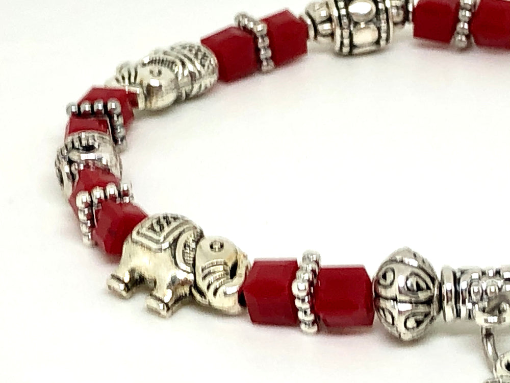 Elephant Stretch Bracelet - Crystal Bead Bracelet 13 COLORS - GARNET RED, Good Luck Strength and Wisdom Symbol - Cheer and Dance On Demand