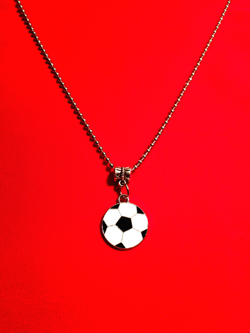 Soccer Charm Necklace - Soccer Ball Black and White