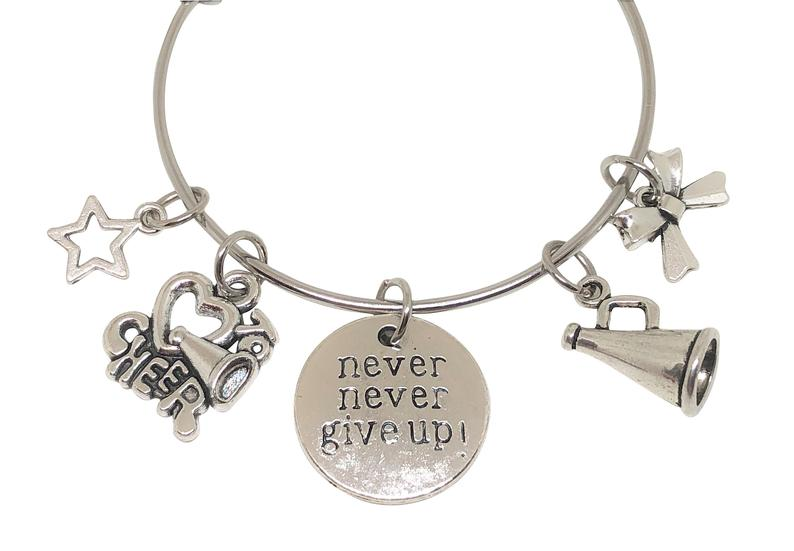 Cheerleading Charm Bracelet - Never Give Up - Cheerleading On Demand by America's Leaders