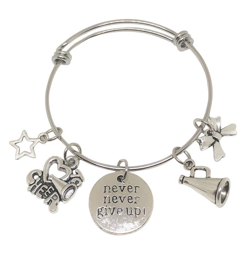 Cheerleading Charm Bracelet - Never Give Up - Cheer and Dance On Demand