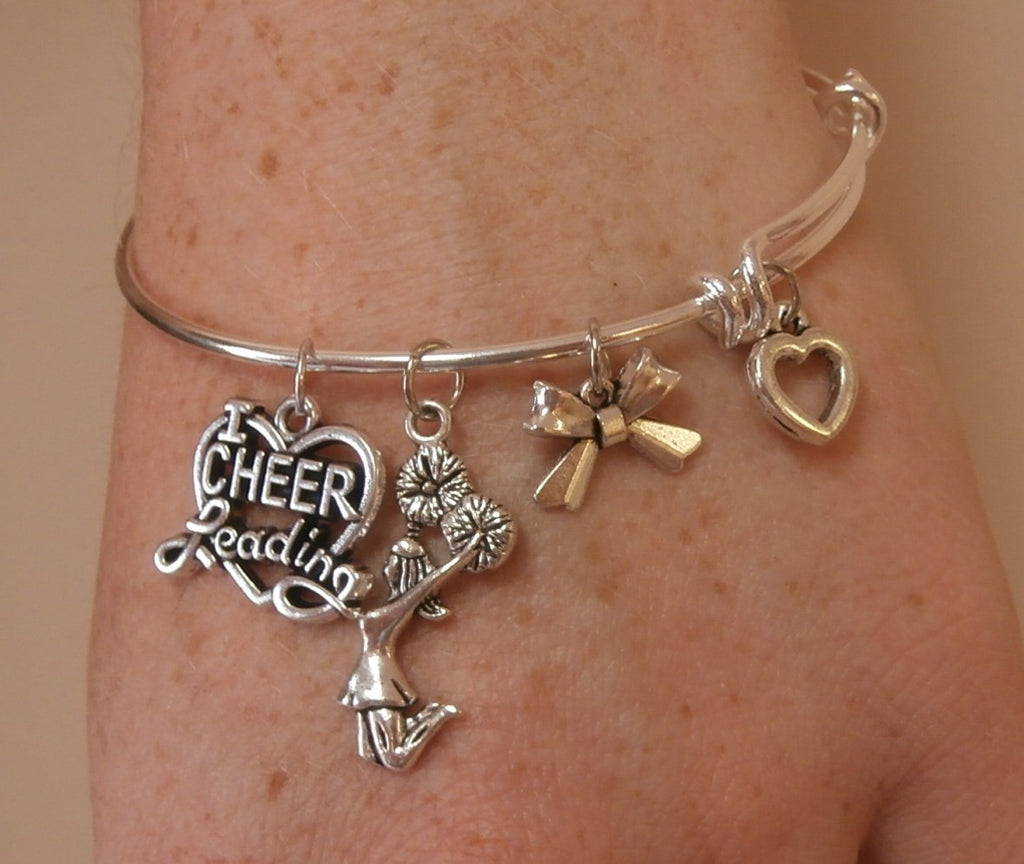 I Love Cheerleading Charm Bracelet with Bow