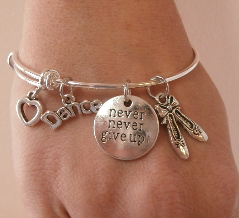 Dance Charm Bracelet - Never Give Up! - Cheer and Dance On Demand