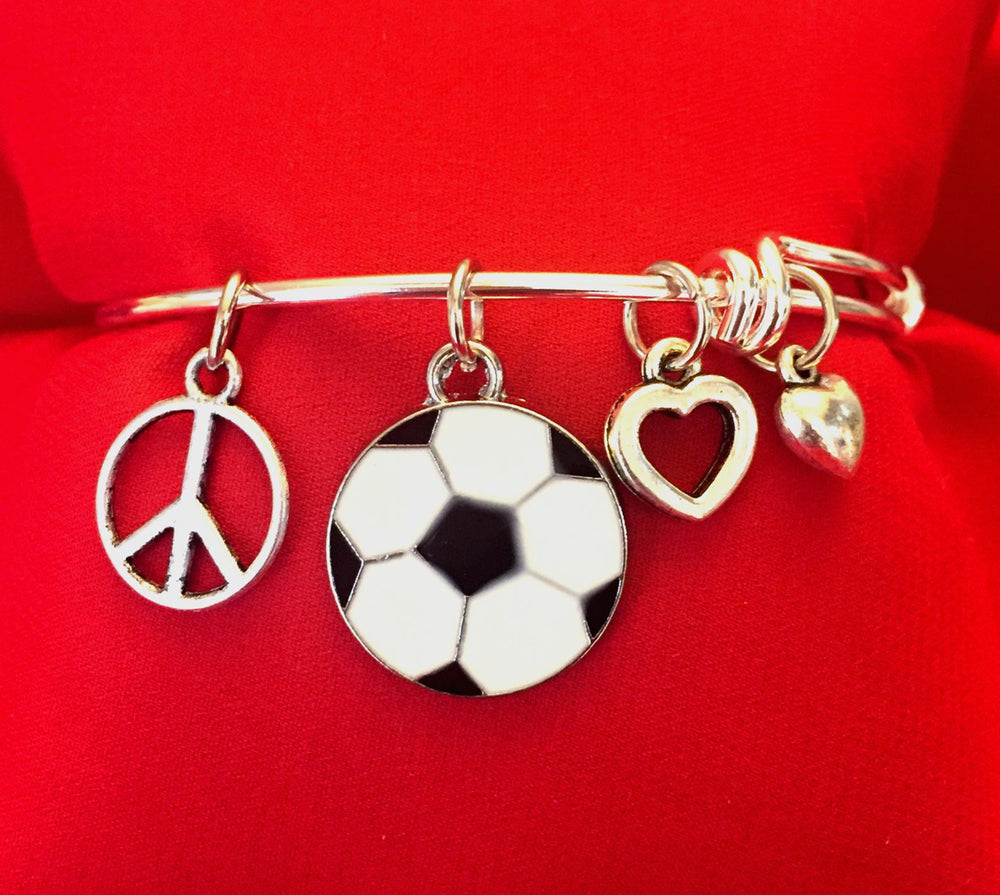 Soccer Charm Bracelet - Peace Love Soccer - Cheer and Dance On Demand