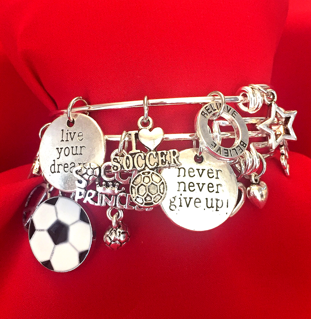 Soccer Charm Bracelet Set of 3
