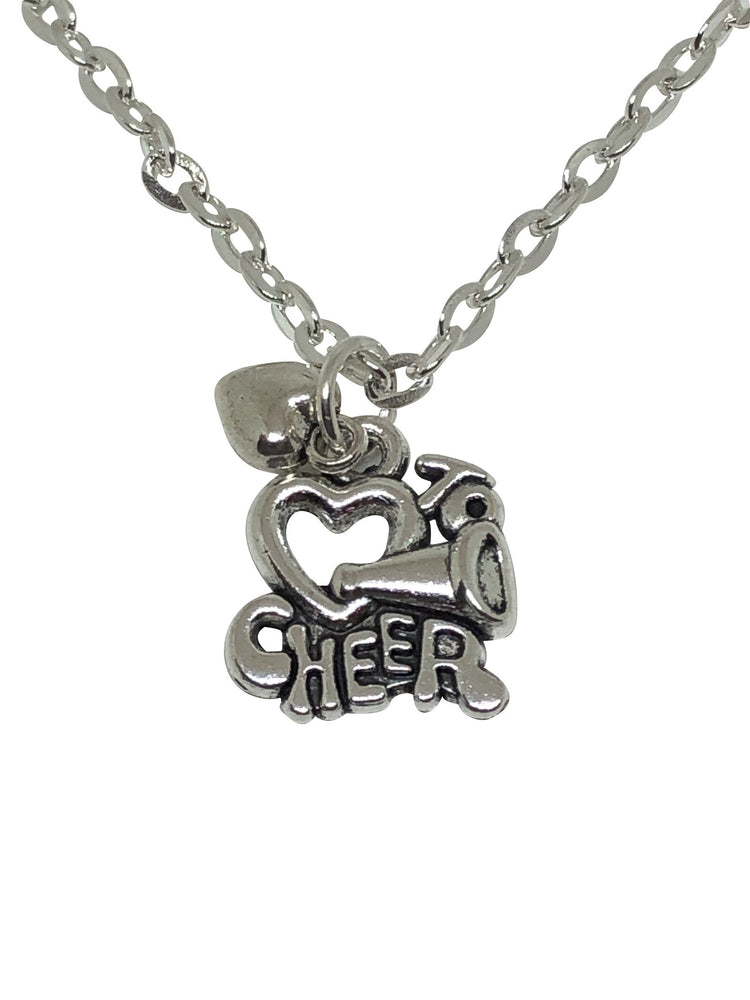 I Love Cheerleading Double Charm Necklace Silver