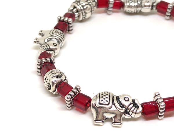 Elephant Stretch Crystal Bead Bracelet 8 COLORS - Glacier Blue, Strength and Wisdom Symbol